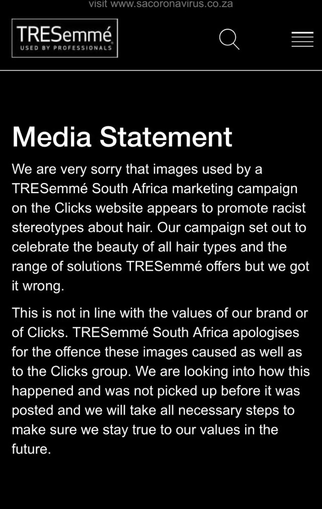 An apology issued by Tresemme South Africa after the Clicks hair debacle