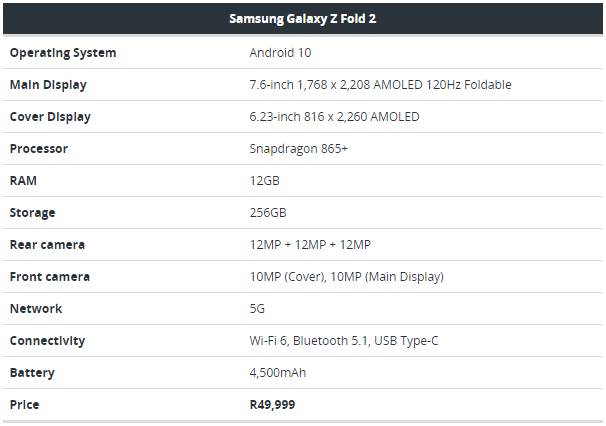 Samsung specifications