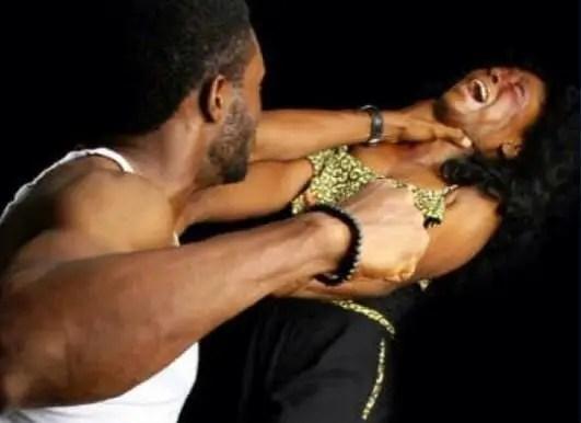 man beating woman domestic violence