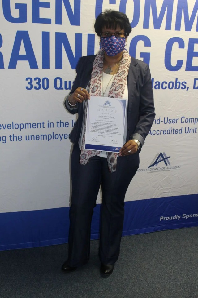 Jacqueline Van Der Byl graduated from the Engen Computer School as one of the top achievers