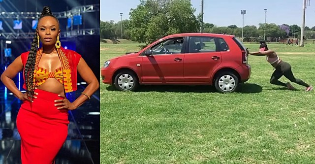 SA Idols judge Unathi pushing a car all by herself