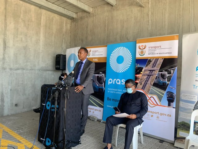 Transport Minister Fikile Mbalula speaking at the opening of the Rail Traffic Control Centre in Cape Town