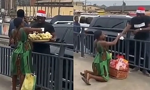 Rich man leaves pregnant woman in tears after buying all her fruits so she could rest