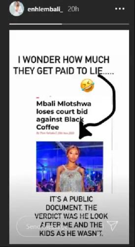 enhle mbali hits back