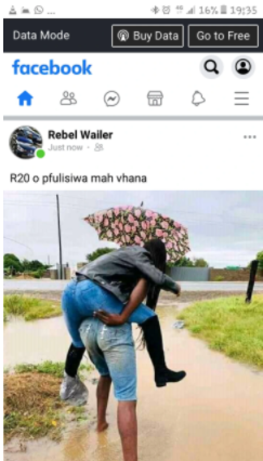 Drama as Limpopo man charges R20 to carry women on his back to pass water in the streets
