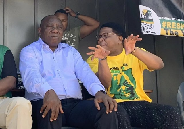 Fikile Mbalula and Cyril Ramaphosa