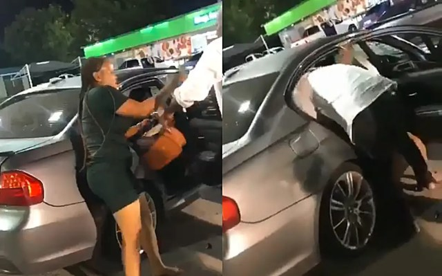 Man and girlfriend's BMW drama at petrol station