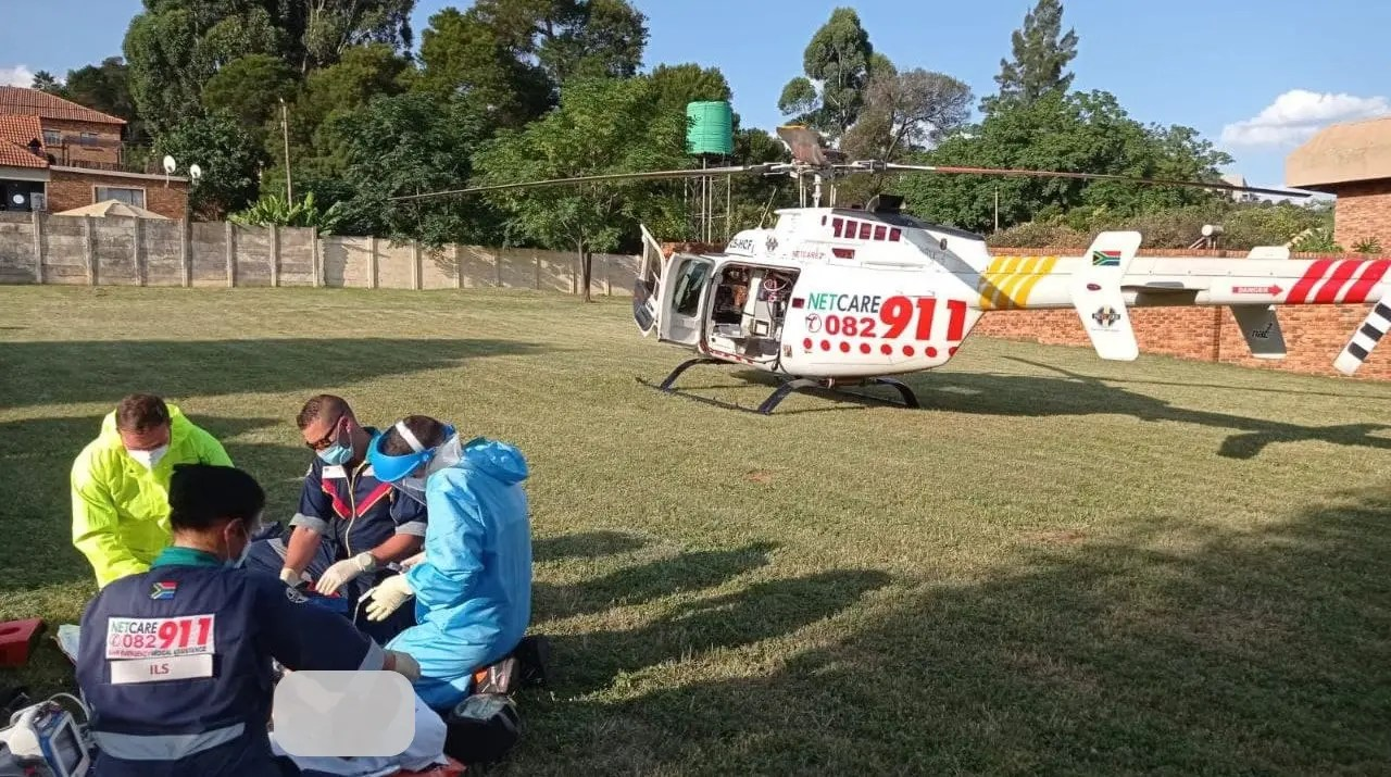 Man falls five meters, airlifted to hospital in a serious condition