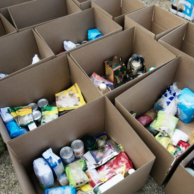 families with food parcels