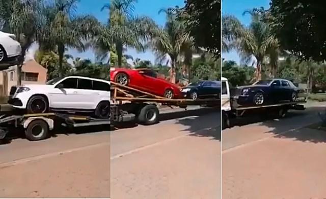 video of more than 10 cars belonging to 'Prophet Bushiri' being repossessed