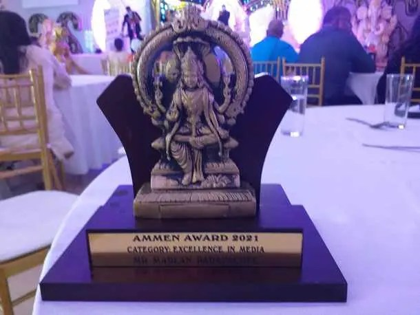 Marlan Padayachee won the excellence in media award at the 2021 Ammen Media Awards held at the Shree Mariammen Hindu Temple Society in Mount Edgecombe