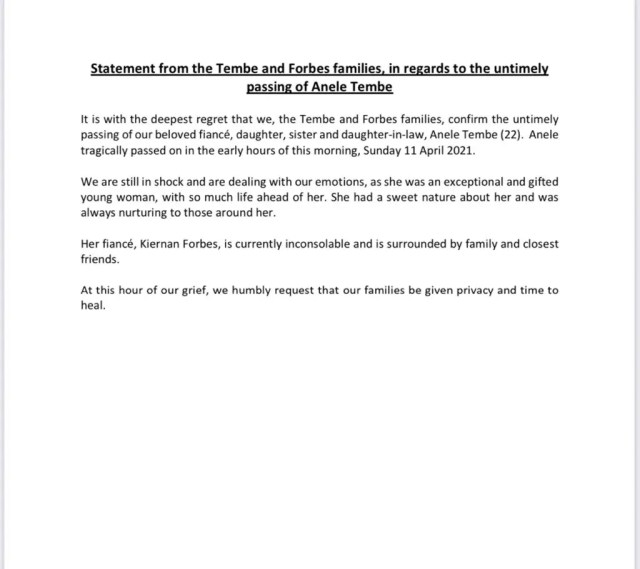 Official statement from Forbes and Tembe families concerning AKA's fiance Nellie's tragic death