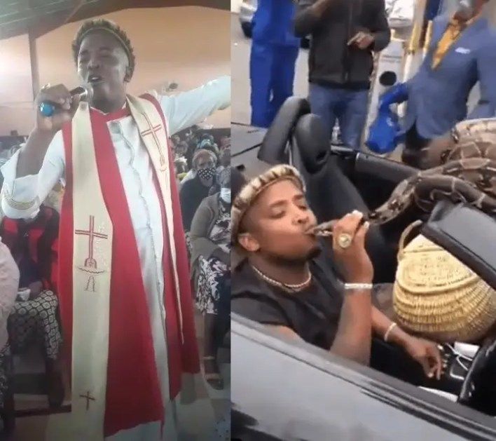 Pastor caught on camera kissing big snake in public