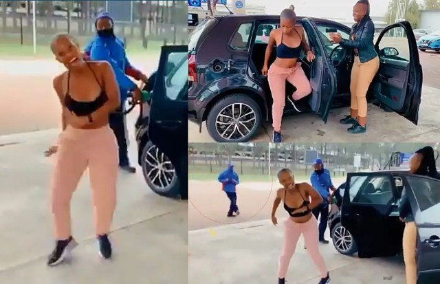 Young SA woman distracts petrol attendants at the service station
