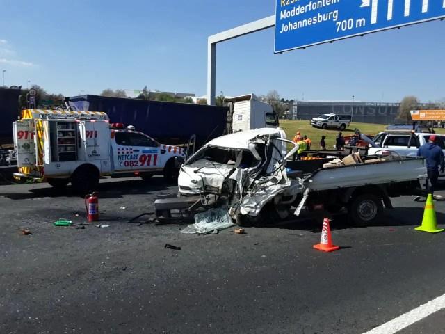 Bakkie driver injured in collision with truck