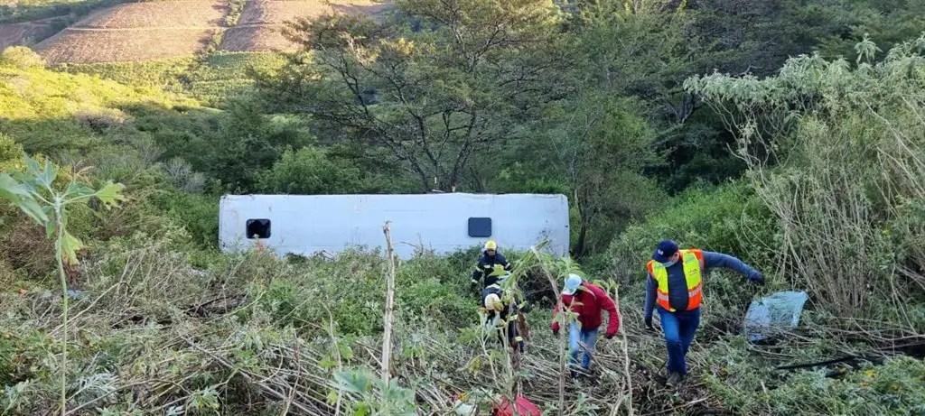 One die and 50 injured after bus veers off road