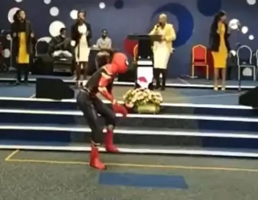 Spider-Man dancing in the church