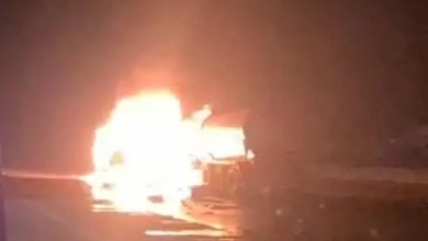 Truck driver sustains serious burns in fiery crash