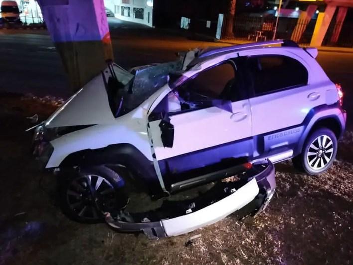 Motorist critical after slamming into pillar