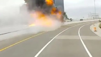 Truck explodes on the highway