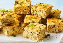 Tuna sweetcorn and rice slice