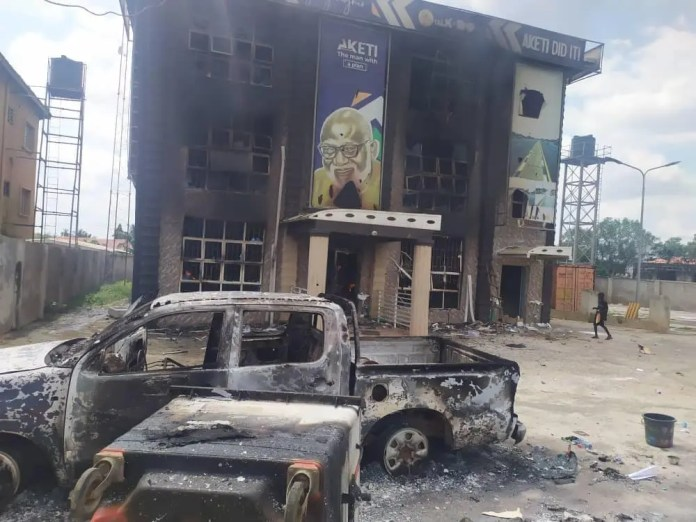 Governor Akeredolu's campaign office burnt down in Akure