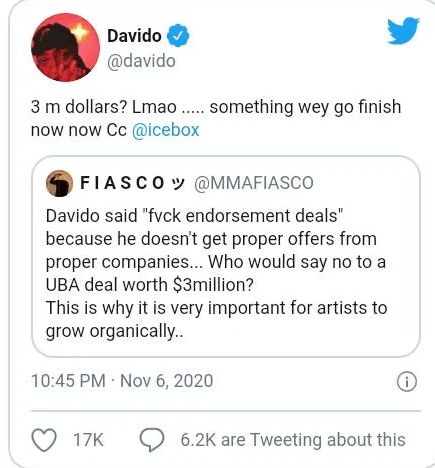 Davido's 'So Crazy' Music Video Has a million views in 2 days
