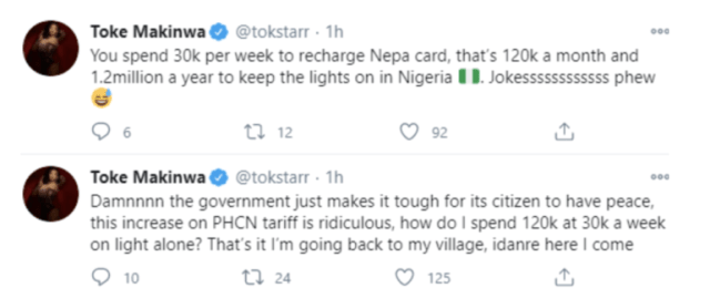 Toke Makinwa spends N120k On Electricity Monthly