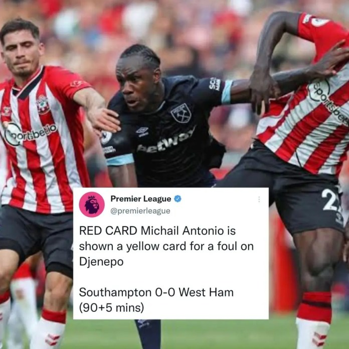 Michail Antonio red carded as West Ham, Southampton plays to a goalless draw