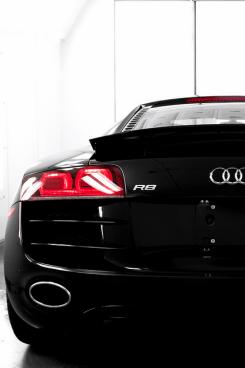 black_audi_r8_supercar_rear_view