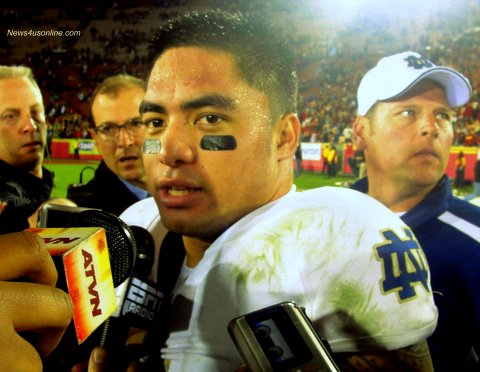 Caught in a web: Notre Dame linebacker Manti Te'o has been publicly outed about a fake dead girlfriend. Photo Credit: Dennis J. Freeman
