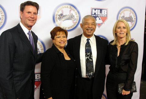 Hall of Fame pitcher Jim Palmer and wife Susan greet former MLB star Bobby Tolan and his wife at the Professional Baseball Scouts Foundation event in Los Angeles. Photo Credit: Dennis J. Freeman
