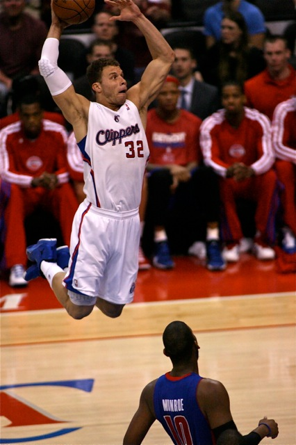 Blake Griffin of the Los Angeles Clippers goes airborne against the Detroit Pistons. Photo Credit: Jon Gaede/News4usonline.com