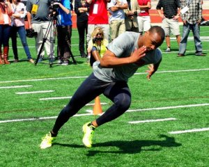 Robert Woods did his thing at USC Pro Day. Photo Credit: Dennis J. Freeman