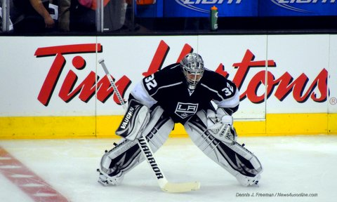 Los Angeles Kings goaltender Jonathan Quick is a big reason why the team is moving on to the next round of the NHL playoffs. Photo Credit: Dennis J. Freeman