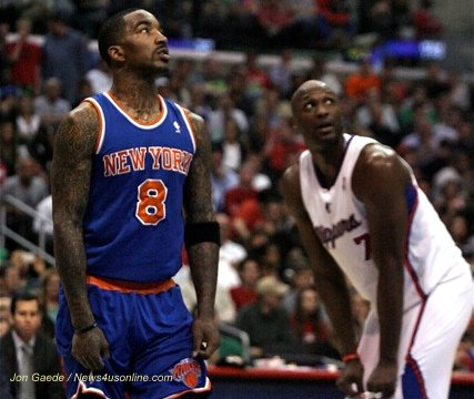 J.R. Smith (left) and the New York Knicks and Los Angeles Clippers forward will both have get physical to lead their teams out of the first round of the NBA playoffs. Photo Credit: Jon Gaede / News4usonline.com