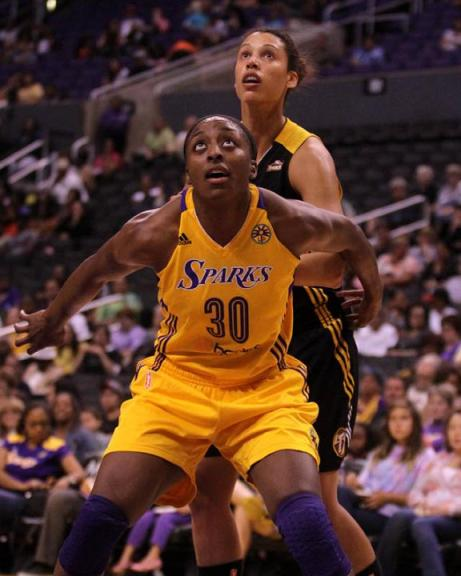 Nneka Ogwumike #30 of the Sparks during the game. The Los Angeles Sparks defeated the Tulsa Shock by the final score of 90-88 in 2 overtimes at Staples Staples Center in downtown Los Angeles CA./Kevin Reece/News4usonline.com
