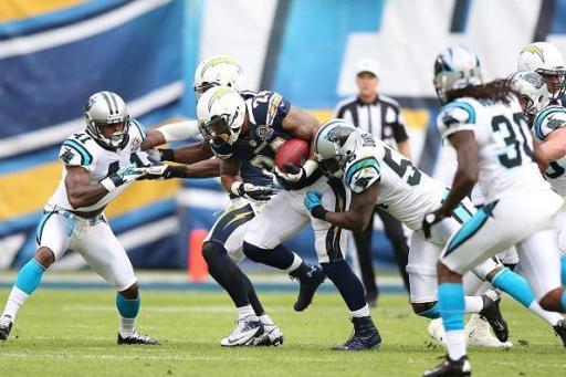 Running back Ryan Mathews (24) seen here against the Carolina Panthers in 2012, is closing in a 1,000 rushing season. Photo Credit: Michael Zito/News4usonline.com