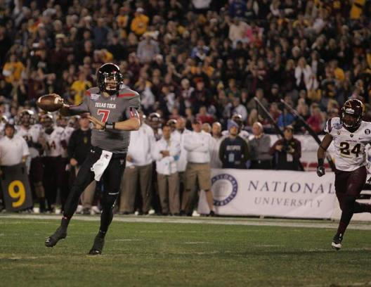 Davis Webb lit up the Arizona State defense in leading Texas Tech to a National University Holiday Bowl win in San Diego. Photo Credit: Jevone Moore/News4usonline.com
