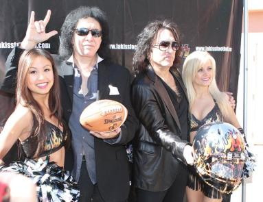 Gene Simmons and Paul Stanley ham it up at the LA Kiss media day. Photo: Jevone Moore/News4usonline.com