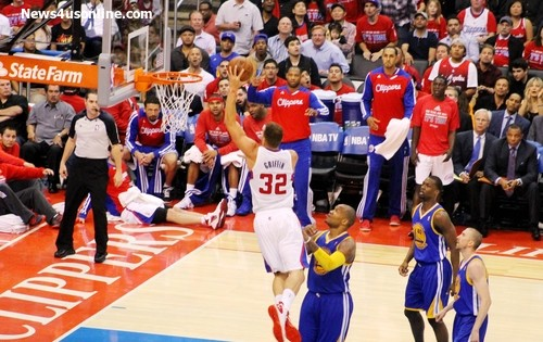 Going to get mine: Blake Griffin of the Los Angeles Clippers skies to the basket for two of his game-high 35 points against the Golden State Warriors in Game 2 of the first round playoff series. Photo Credit: Dennis J. Freeman/News4usonline.com