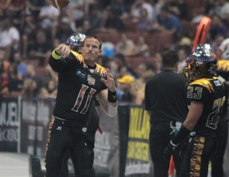Former Quarterback JJ Raterink traded back to his old team Iowa Barnstormers. Photo Credit : Jevone Moore / News4usonline.com