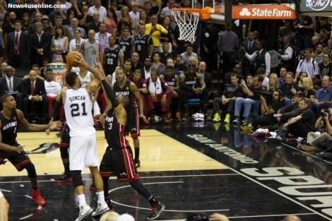 The Big Fundamental Tim Duncan goes up for a shot against the Miami Heat during the 2014 NBA Finals. Photo Credit: Antonio Uzeta/News4usonline.com