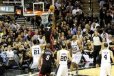 Miami's LeBron James goes up for a dunk against the San Antonio Spurs during the 2014 NBA Finals. Photo Credit: Antonio Uzeta/News4usonline.com