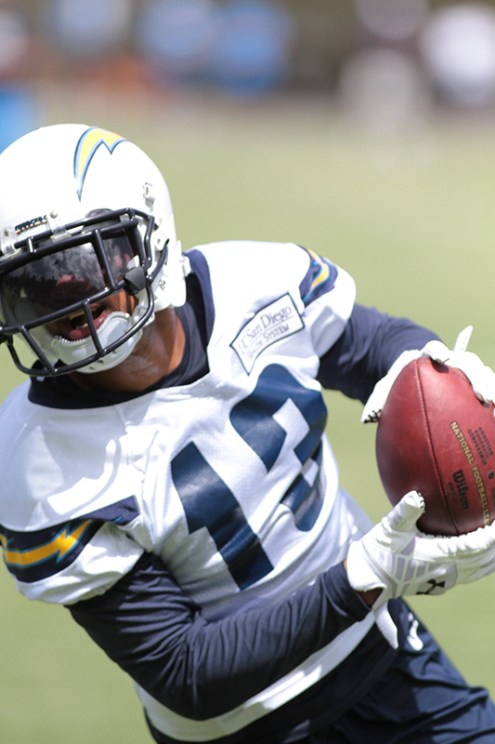 Wide receiver Keenan Allen does his thing after catching a pass at training camp, July 25.