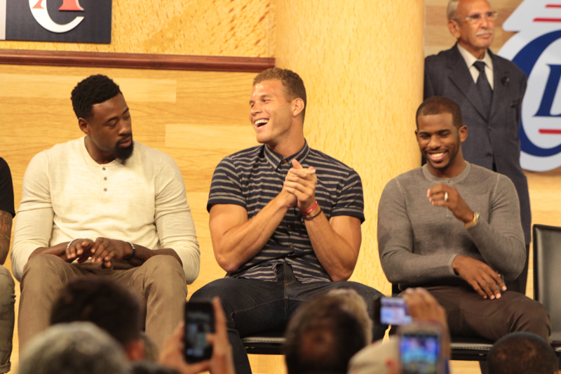 L.A. Clippers players were on to new owner Steve Ballemer's introduction to  fans at Staples Center. Left to right are DeAndre Jordan,Blake Griffin and Chris Paul. Photo Credit: Jevone Moore/News4usonline.com