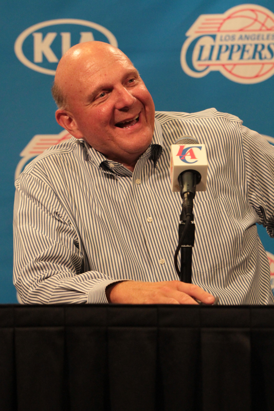 In charge: Steve Ballmer speaks to the media after  after the fanfest pep rally at Staples Center. Photo Credit: Jevone Moore/News4usonline.com