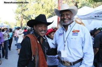 Actors Obba Babatunde and James Pickens Jr at the Bill Pickett Rodeo in Southern California.