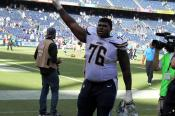 Guard D.J. Fluker waves to fans following the San Diego Chargers win at home against the winless Jacksonville Jaguars. Photo Credit: Dennis J. Freeman/News4usonline.com