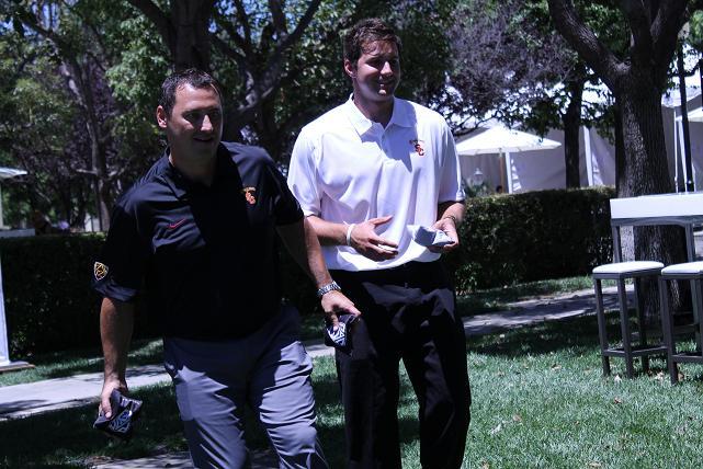 Happier times: USC quarterback Cody Kessler with former coach Steve Sarkisian at the 2014 Pac-12 Football Media Day. Photo by Dennis J. Freeman/News4usonline.com